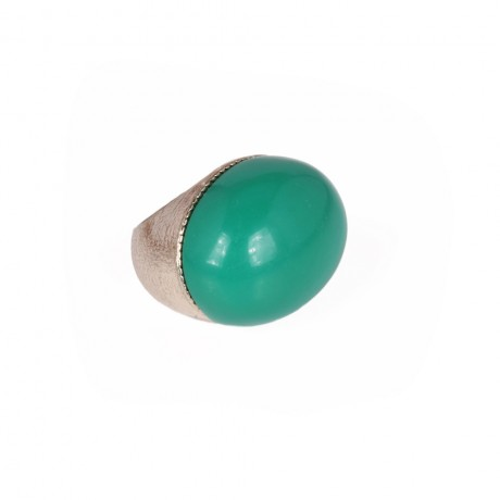Silver color ring with green color stone