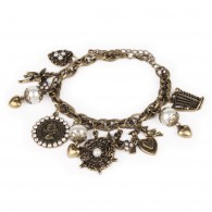 Antique gold colour bracelet with charms