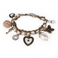 Chain bracelet with braided ribbon and charms