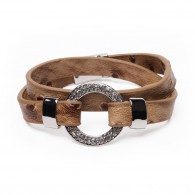 Leather bracelet with covered ring