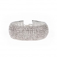 Knitted semirigid bracelet with strass