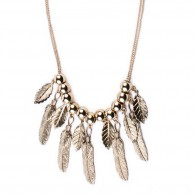 Necklace with pendant metal feather