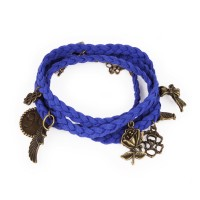 Blue suede braided bracelet with charms
