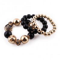 Elastic bracelet with pearls composed of 3 pieces