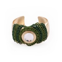 Gold color bracelet with green chains