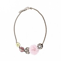 Necklace with pink flower and pearls