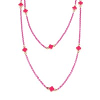 Chain necklace fuchsia with shamrocks