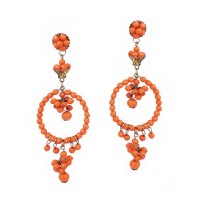 Earrings with orange beads