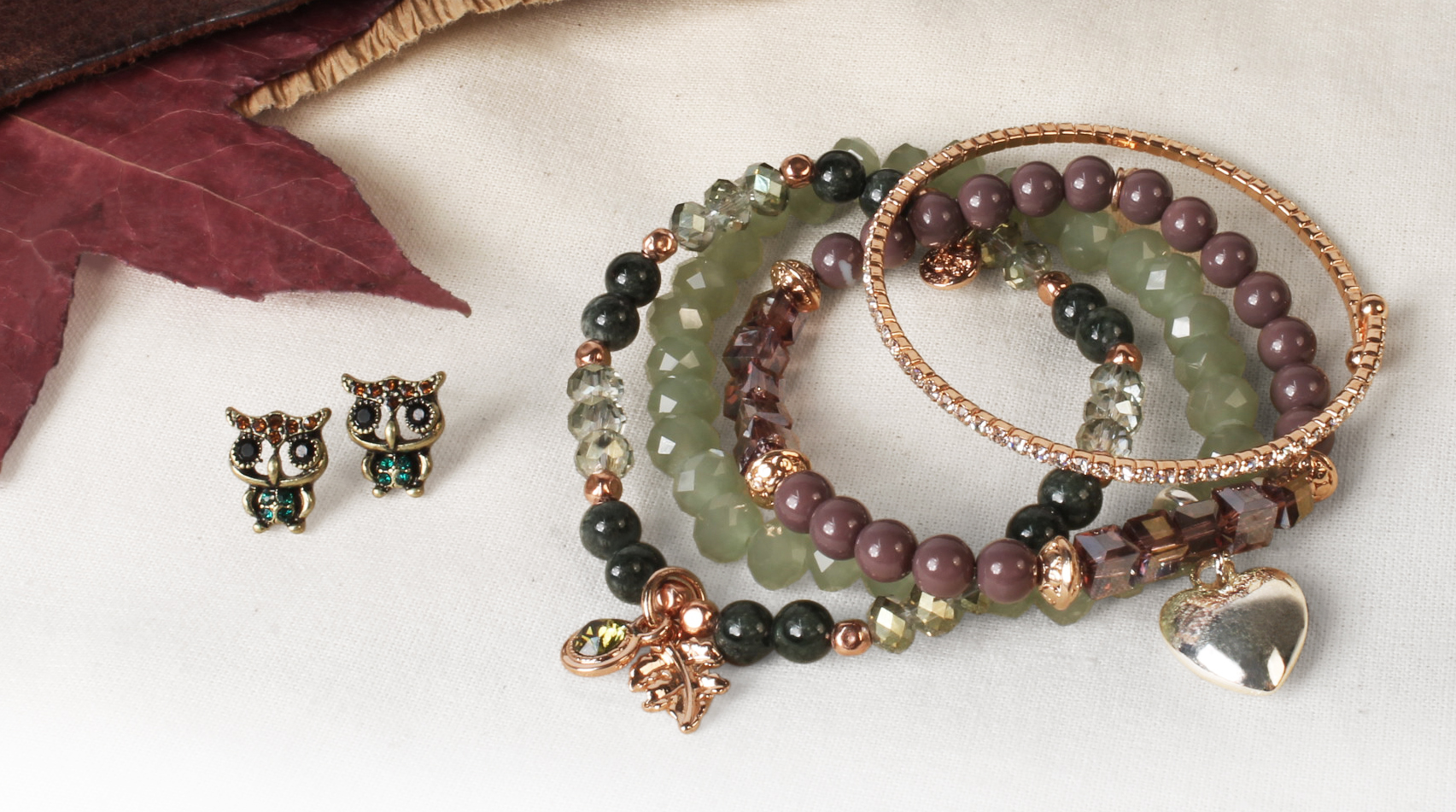 Woman Bracelets with charms and beads